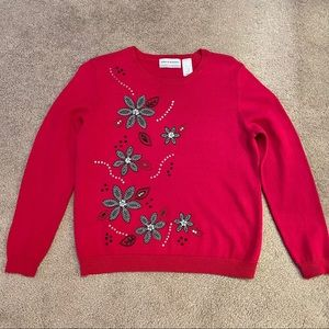 Alfred Dunner red pullover sweater petite large